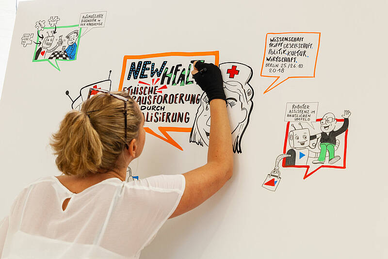 "Graphic Recording der Veranstaltung Pre-Research Forums ""New Health"" 2018"