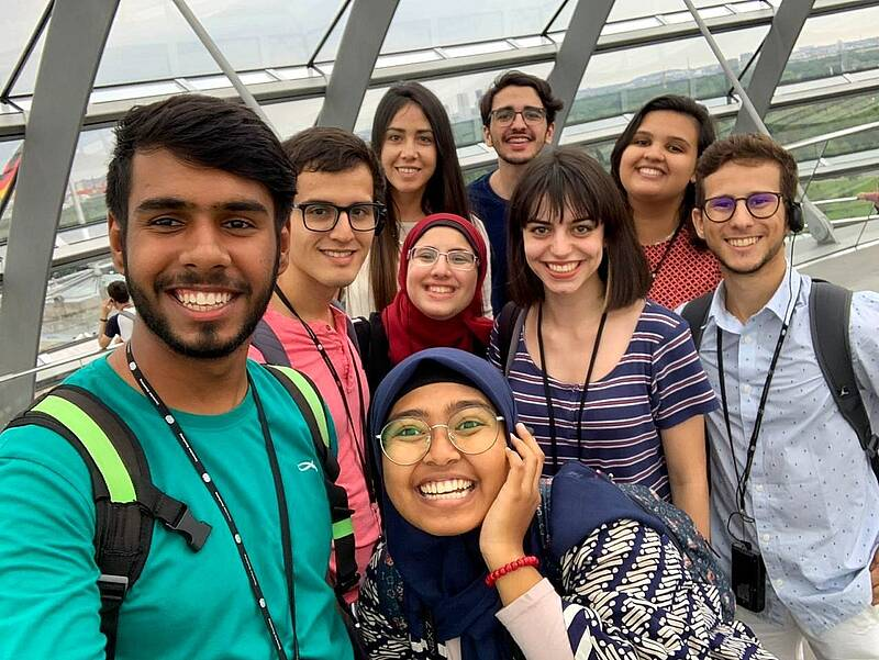Participants of the 2019 Summer University in the dome of the German Bundestag