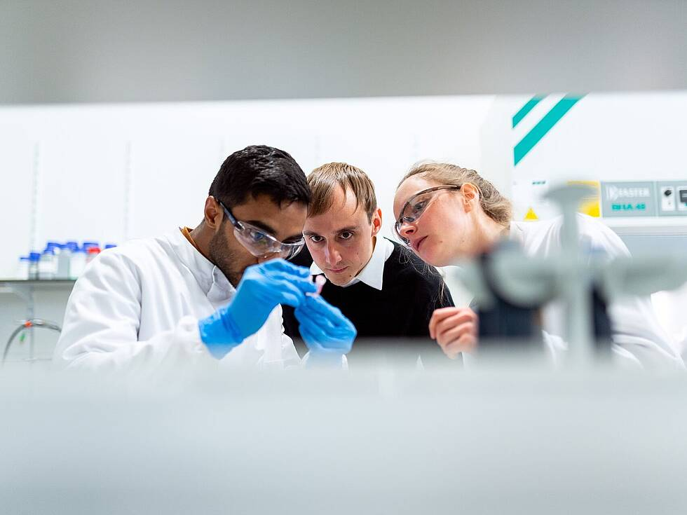 Researchers in a lab taking a closer look at a sample
